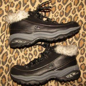 SKECHERS SPORT fur lined mid-top boot shoe sz 10